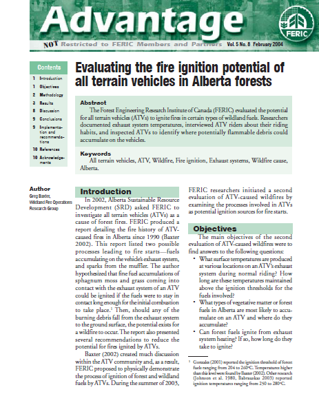 All terrain vehicles as a cause of fire ignition in Alberta forests