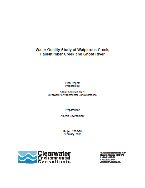Water Quality Study of Waiparous Creek, Fallentimber Creek and Ghost River