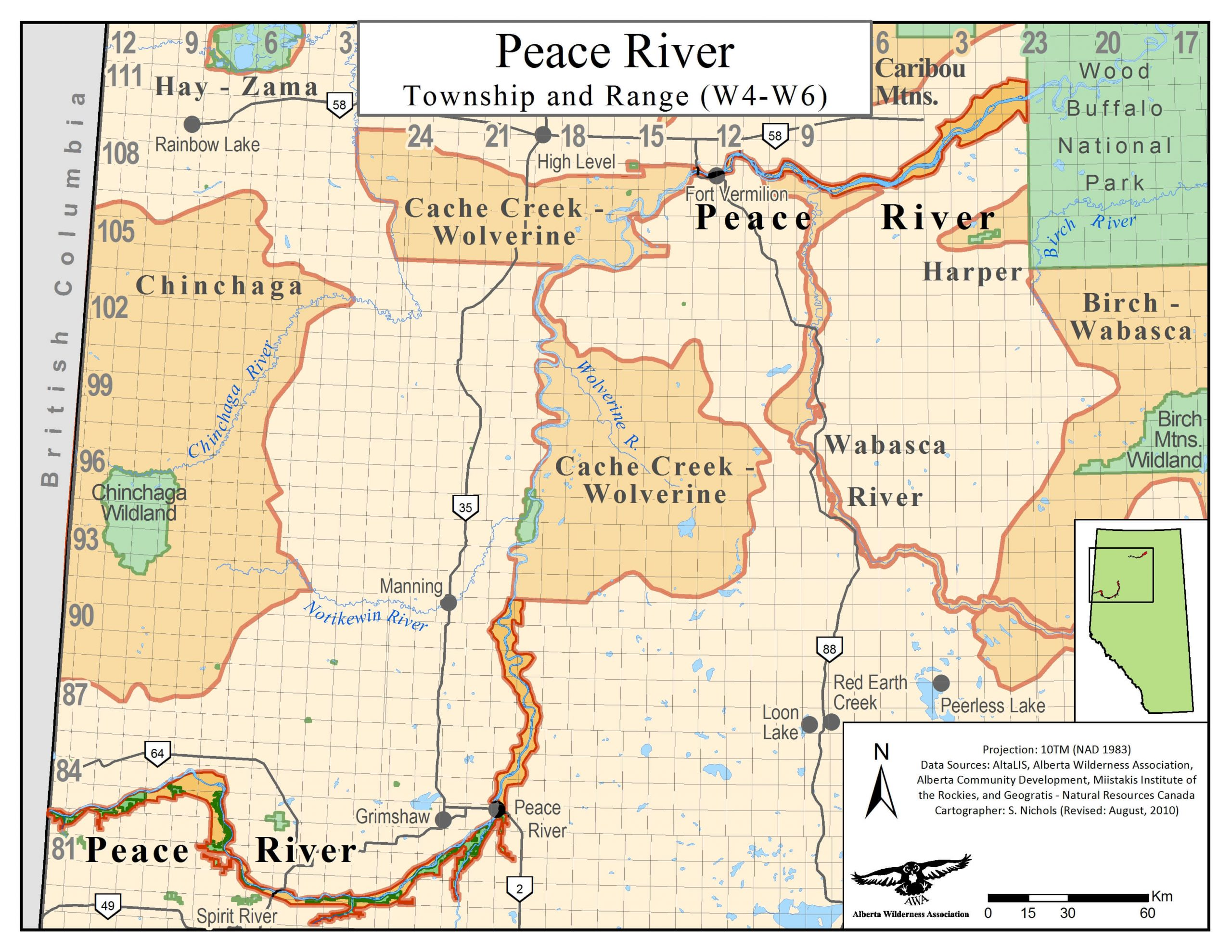 Map Of Peace River Canada Peace River   Alberta Wilderness Association