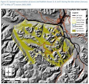Overlap of trails with high value 'late winter' caribou habitat in Jasper's Tonquin range, Figure 15, Schmiegelow 2014.