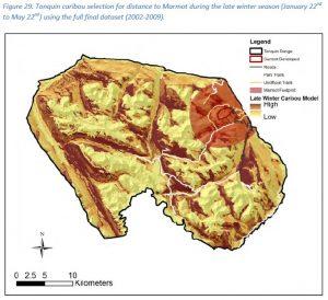 Jasper's Tonquin caribou 'late winter' habitat selection. Figure 29, Schmiegelow 2014.