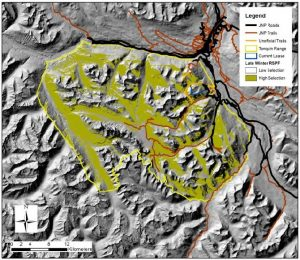 Figure 1. Spatial representation of access and habitat classes 3, 4 and 5 during the late winter (January 22nd to May 22nd) season 2002-2009. Tonquin Valley ski and snowmobile supply routes (in red) make paths far into high quality 'late winter' caribou habitat (shaded yellow/green areas). (Source: Czetwertynski and Schmiegelow, Tonquin Caribou Risk Assessment Final Report, 2014)