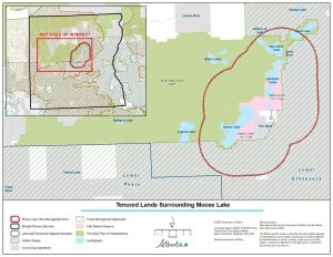 Figure 1. Moose Lake Access Management Plan: 10 Kilometre Buffer Zone (outlined in red), Fort McKay First Nation reserves (pink), current Birch Mountains Wildland Provincial Park designated protected area (green); Public lands Multi-Use Zone with oil and gas tenure (grey) and forestry tenure (diagonal lines). Map: Government of Alberta, 2020.