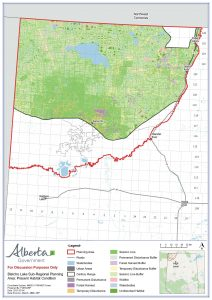 Alberta has agreed to establish a minimum of 65% undisturbed habitat in Bistcho caribou range. Only 6% (the bits of dark green) is undisturbed now. Map: Government of Alberta, March 2021.