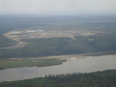 Oil sands mining operations adjacent to the Athabasca River