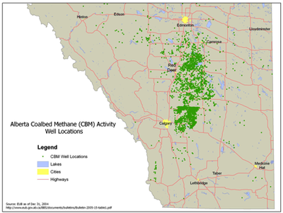 Alberta CBM wellsite locations as of 2004